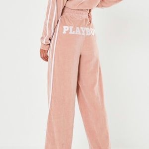 Playboy + missguided pink velour wide leg pants